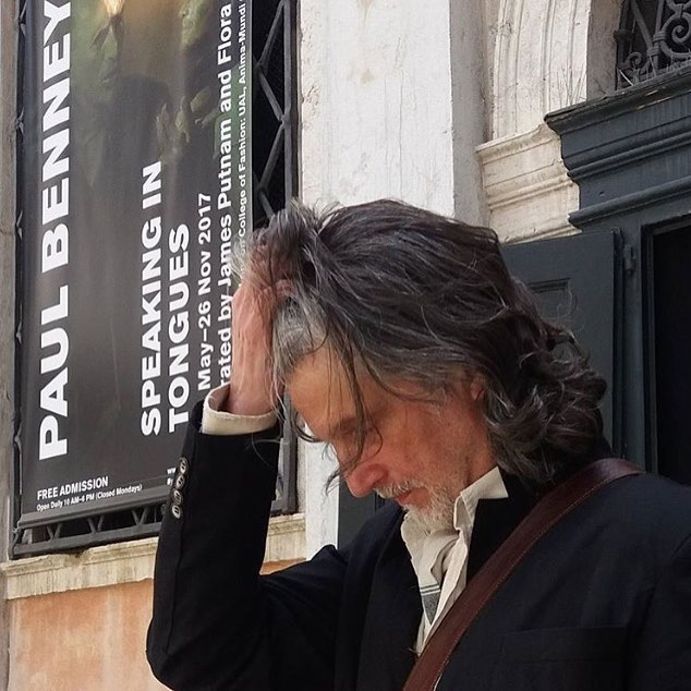 Having a little moment before the opening yesterday