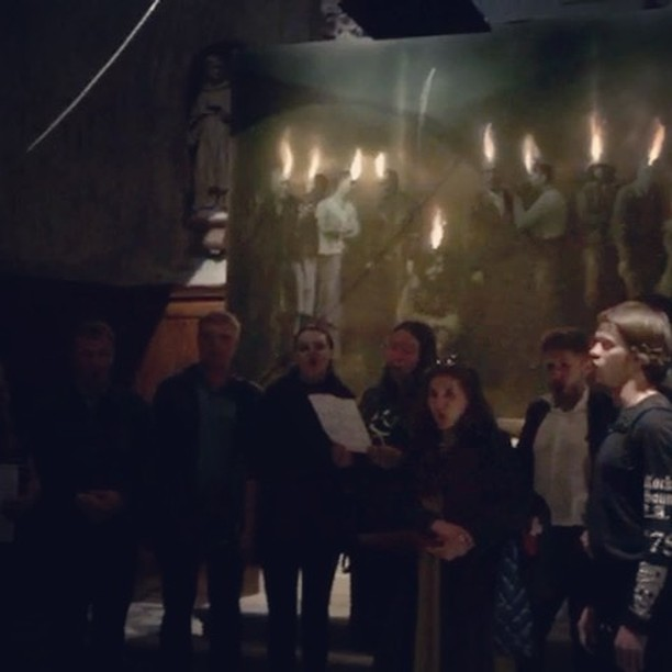 The quite unexpected, spontaneous and moving response by the Moscow Synodal Conservatory Choir to my 'Speaking in Tongues' installation at the Chiesa Di San Gallo in Venice. Early that morning they were singing Mass in the crypt of  St Marks Basilica. Thanks to Alexey and Ella for inviting them