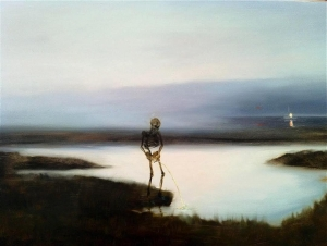 While the world burns...(Pissing Death. 2012. Oil on Board.) @viktor_wynd