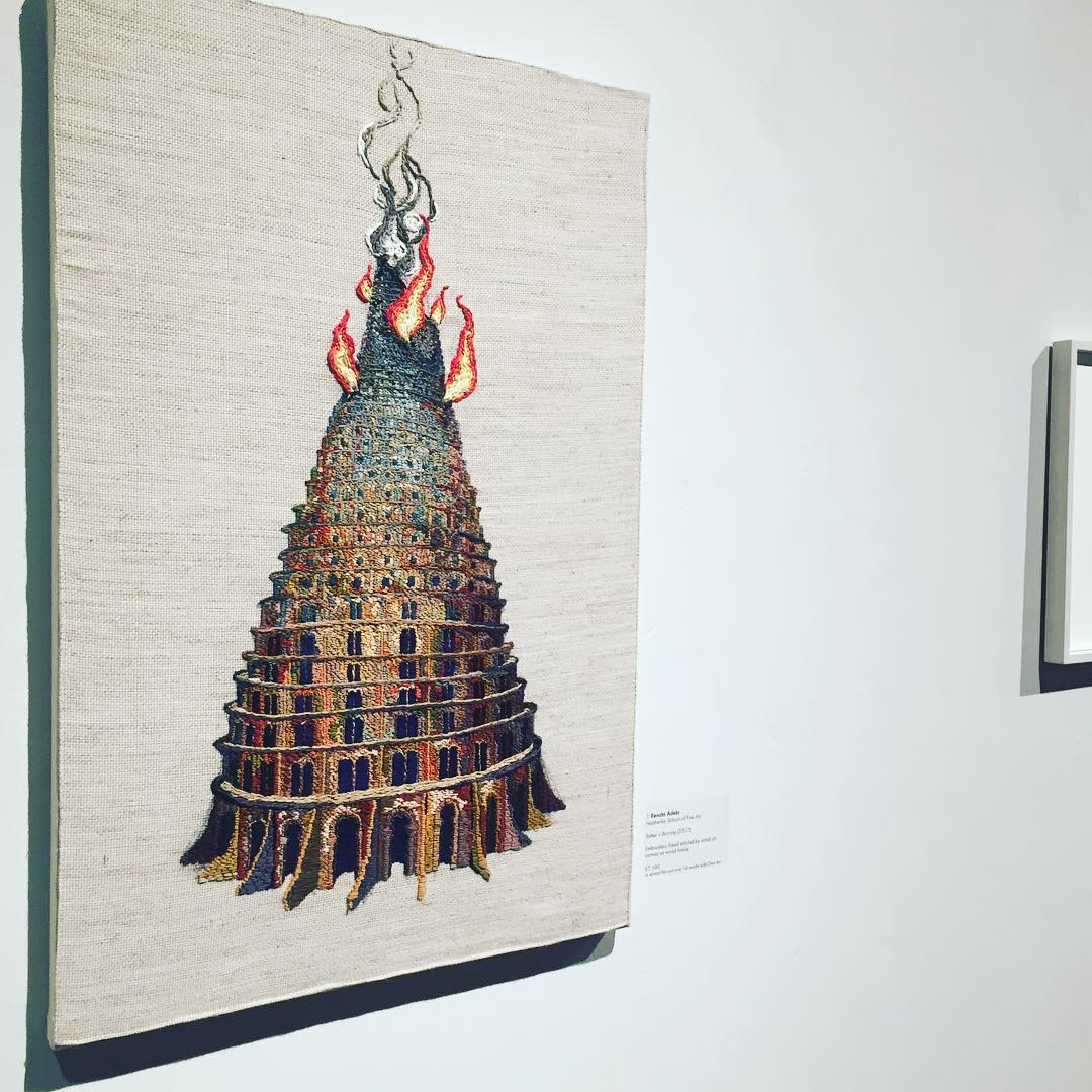 Renata's great 'Babel is Burning' embroidery in the Future British Artists exhibition at the Mall Galleries until 20th Jan. worth a trip to see this and the other stella artist's works there