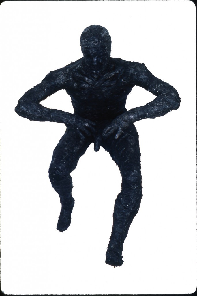 Feather Man, 1988.  Life Size  Tar, Feathers and Wooden Armature.