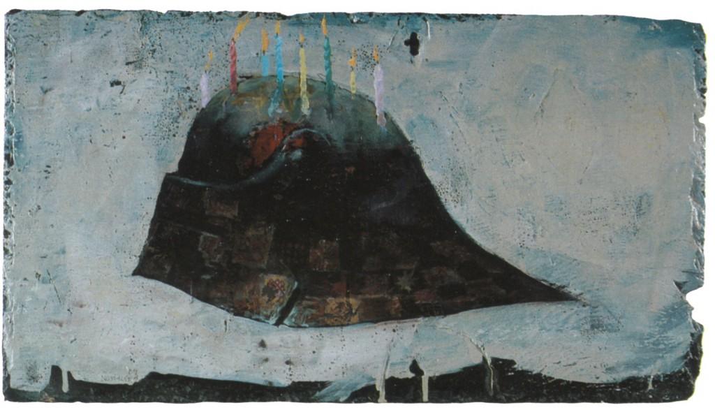 Nostalgia, 1989.  30 x 56 cm [11.8 x 22in]. Oil on Slate.