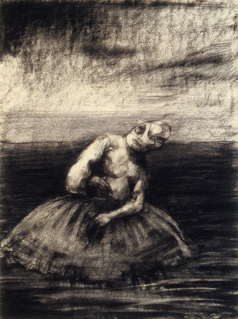 Dancer, 1990.  20 x 28 cm [7.8 x 11in]. Charcoal on Paper.