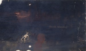Devil Worship, 1988. 30 x 56 cm [11.8 x 22in]. Oil on slate.
