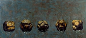 Geometry of the Senses I, 1992. 86 x 163 cm [33.8 x 64in]. Oil on Panel.