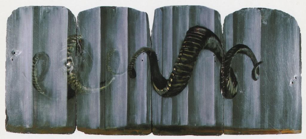 Simulacra, 1989. 71 x 166 cm [27.9 x 65.3in]. Oil on Slate.